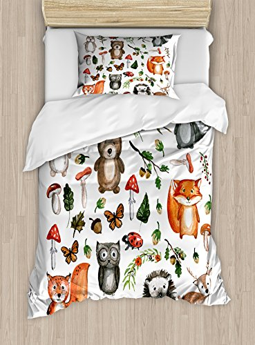 Lunarable Woodland Duvet Cover Set, Watercolor Hand Drawn Forest Animals Illustration Among Elements of The Woods, Decorative 2 Piece Bedding Set with 1 Pillow Sham, Twin Size, Brown