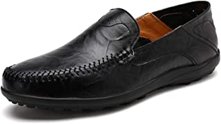 Xiang Ye Man Retro Driving Loafer Casual OX Leather Faux Fleece Inside Super Light Business Boat Moccasins(Conventional Optional) (Color : Warm Black, Size : 10 UK)