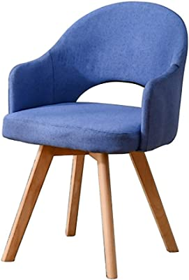 Chair Solid Wood Stool Restaurant backrest Dining Chair Learning Simple Desk Chair Leisure Home Dining Chair (Color : Blue-A, Size : 48 * 46 * 78CM)