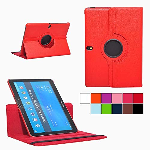 PT Premium Folio Rotating Leather Smart Case Cover Multi-Angle Stand Case for Samsung Galaxy Tab Pro 10.1 Tablet SM-T520/T525 P600 (Red)