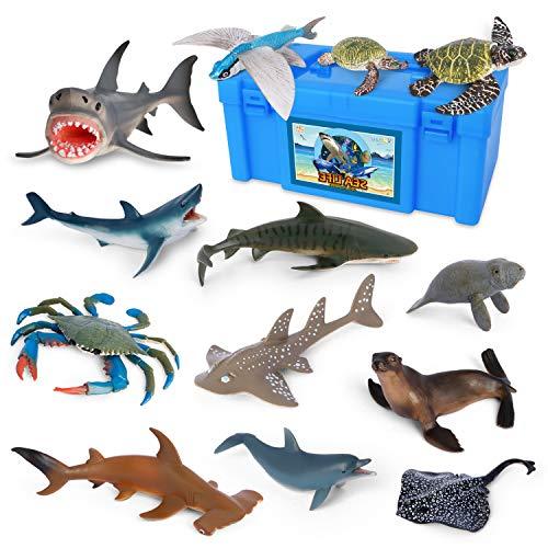 Sea Creature Toys VOLNAU 14PCS Atlantic Shark Toys Ocean Sea Animal Figurines for Toddlers Kids Christmas Birthday Gift Plastic Fish Toys Preschool Pack and Bath Sets