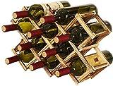 Porte-bouteilles en bois pliable, organisateur de stockage de vin, rangement de bouteilles pour exposition de vin, barre de bar, bière, cuisine maison (10 bouteilles)
