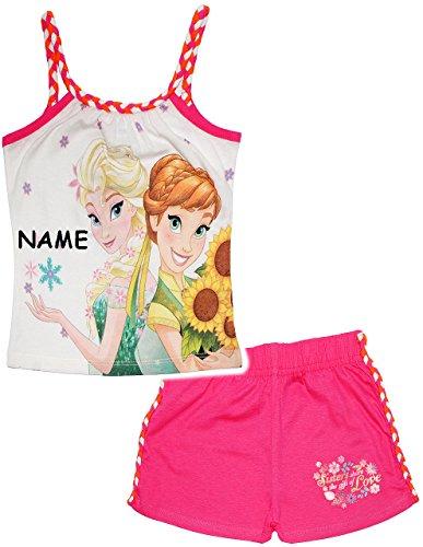 alles-meine.de GmbH 2 TLG. Set _ Top / T-Shirt & Kurze Hose -  Disney Frozen - die Eiskönigin  - incl. Name - Größe: 4 Jahre - Gr. 110 - als Sommerset / Strandbekleidung / kurz..