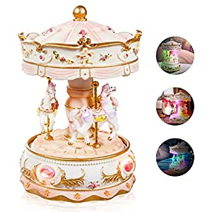 Dragon-Hub Music Box 3-Horse Carousel Gifts for Kids Children Girls Christmas Birthday Valentine's Gifts Decorations…