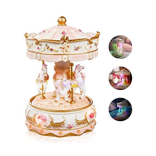 Dragon-Hub Music Box 3-Horse Carousel Gifts for Kids Children Girls Christmas Birthday Valentine's Gifts Decorations… 3
