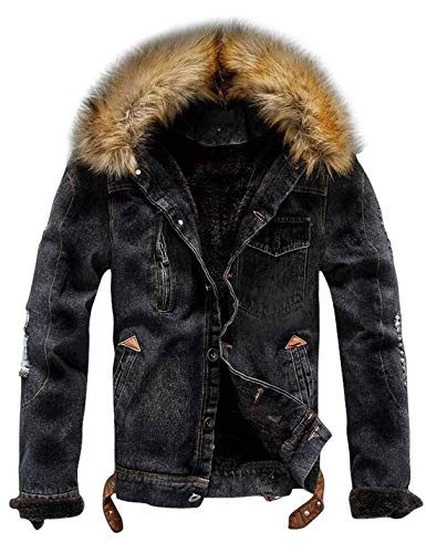 AMEBELLE Men's Faux Fur Collar Ripped Denim Trucker Jackets Fleece Jean Outwear Coat(0116-Black-XXL)