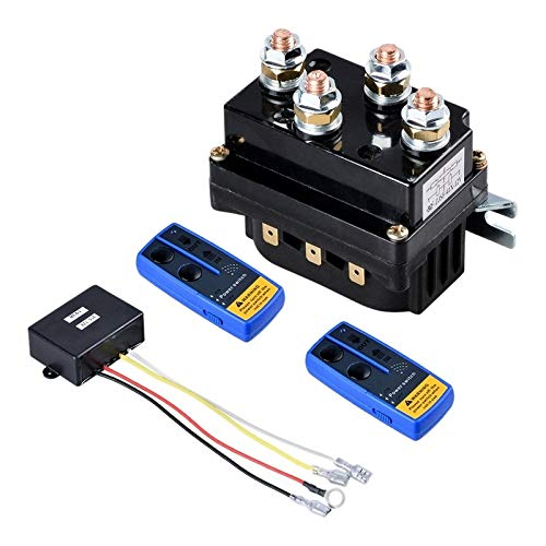 NLLeZ 1pc Universal Winch Contactor Solenoide Retray Controller 12V 500A DC Interruptor Throom Truck Thumb with Twin Wireless Controles remotos para A (Color : Negro)