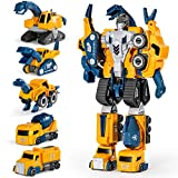 Miebely Toddler Robot Construction Vehicles Set – 5Pcs Transforming Robots for Kids - Magnetic Toys with Durable Connectors – Easy DIY Assembly Function – 5-in-1 Educational STEM Toys (Yellow)