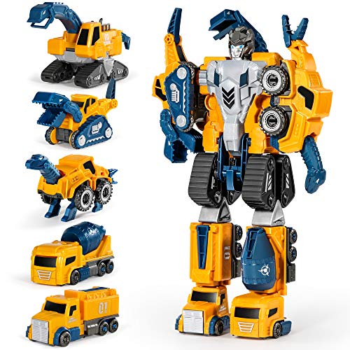 Miebely Toddler Robot Construction Vehicles Set – 5Pcs Transforming Robots for Kids - Magnetic...