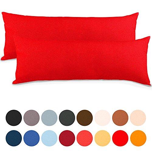 aqua-textil Classic Line Kissenbezug 2er-Set 40 x 145 cm Rubin rot Baumwolle Seitenschläferkissen Bezug Reißverschluss