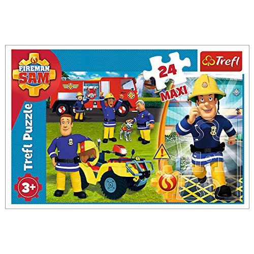 Trefl, Puzzle, il coraggioso pompiere Sam, 24 pezzi maxi, Prism A&D Fireman Sam, per bambini dai 3 anni in su.