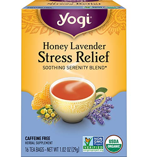 Yogi Tea - Honey Lavender Stress Relief (4 Pack) - Soothing Serenity Blend - 64 Tea Bags