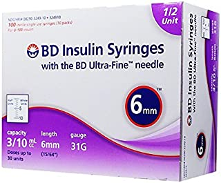 bd half unit insulin syringes