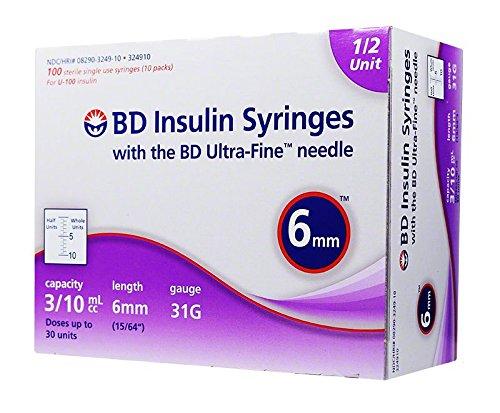 BD Ultra-Fine Half Unit Insulin Syringes 31G 3/10cc 6mm 100ct