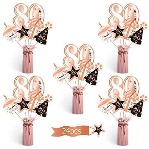 Oro Rosa Set di Decorazioni per Festa del 80 °Compleanno Oro Centrotavola per Feste del 80 °Compleanno Topper da Tavolo per Compleanno per Decorazioni per Feste da 80 Anni, 24 Pezzi
