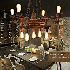 KAD Decorative Chandelier-Wandun Pendant Lamp Steampunk Rustic Chandeliers Vintage Industrial Metal Pendant Light Ceiling Hanging Lamp Lampshade f #5