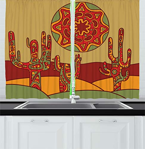 """Ambesonne Cactus Kitchen Curtains, Print Cartoon Like Cactus Design with Oriental Effects Art Image Print, Window Drapes 2 Panel Set for Kitchen Cafe Decor, 55"""" X 39"""", Ruby Beige"""