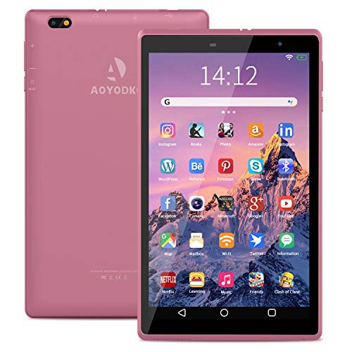 Tablet PC Android 10 Tablets 8 Inch 3GB RAM 32GB ROM Storage 5MP Rear Camera Quad-Core for Portable Entertainment WIFI, Google Certified.(pink)