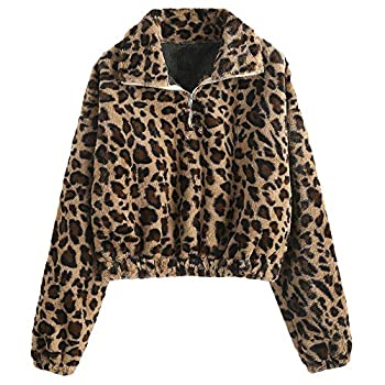 ZAFUL Women's Half Zip Plain Sweatshirt Drop-shoulder Turndown Fluffy Pullover Crop Tops  X-Large Leopard
