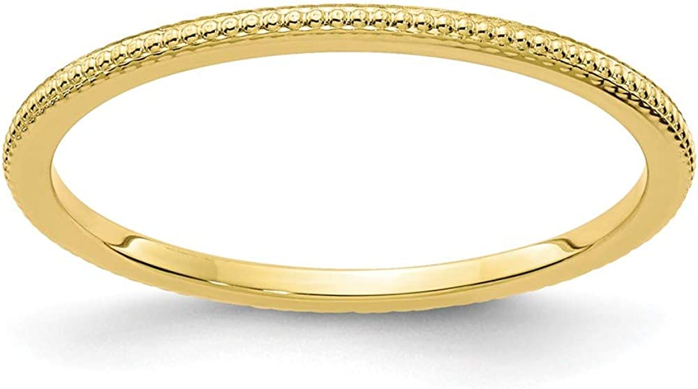 Solid 10k Yellow Gold 1.2mm Bead Stackable Band Thin Wedding Anniversary Ring