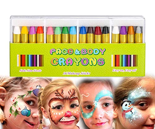 Mimoo Pintura Facial Ninos, 16 Colores Halloween Niño Kit Pintura Lápices de Colores, Pintura Corporal Lápices de Colores para Niños, Regalo de pascua de carnaval,Niños Pequeños