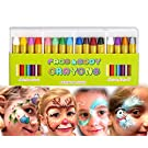 Mimoo 16 Colors Face Paint set Crayon for Baby, Body Paint Sticks Body Tattoo Crayons Kit for Kids, Children, Toddlers, World Cup, Set of 16