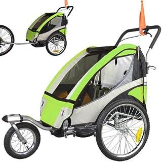 comprar comparacion ebikeCo Remolque de Bicicleta 4 Verde, Suspension, Rueda 360º, 2 plazas 504S-02