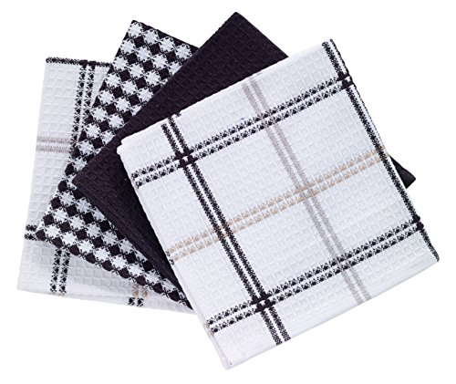 T-fal Textiles Cotton Flat Waffle Dish Cloth, Highly Absorbent, Machine Washable, 12' x 13', Neutral, 4-Pack