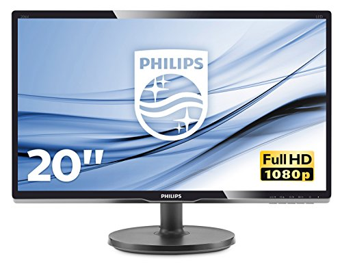 Philips 200V4QSBR Monitor 20' LED con Pannello MVA, Full HD, 1920 x 1080, DVI, VGA, Inclinabile, Contrasto Statico 3000:1, Attacco VESA, Nero