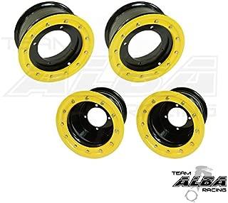 TRX 450R TRX 400EX Beadlock Set of 4 Wheels Rims - Compatible with Honda - Rear 9x8 Front 10x5 4+1 Black/Yellow