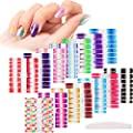 14 Sheets Glitter Nail Wraps Full Nail Art Polish Stickers Pure Color Shine Nail Wrap Stickers Adhesive Nail Decals False Nail Design Gradient Glittery Manicure Kit with 1 Nail File