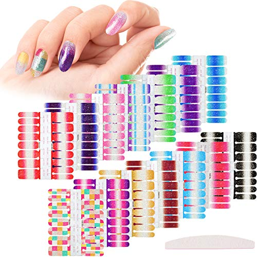 14 Sheets Glitter Nail Wraps Full Nail Art Polish Stickers Pure Color Shine Nail Wrap Stickers Adhesive Nail Decals False Nail Design Gradient Glittery Manicure Kit with 1 Nail File (Classic Color)