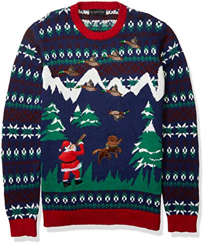 Blizzard Bay Men's Duck Hunter Santa Ugly Christmas Sweater, Navy/Green/Red, X-Large