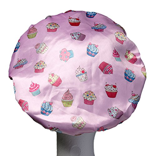 Dilly's Collections Luxury Shower Cap - Triple Layer Microfiber Inside With Extra Protection - Saves The Blow Wave - Cupcakes Design Shower Cap For Women