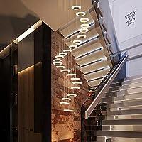 YYONGAO スパイラル階段ロフトモダンな照明器具の高天井ヴィラ階段ラウンド吊りペンダントサスペンションランプのためのLEDシャンデリア (Body Color : 28 head, Emitting Color : Colod Light)