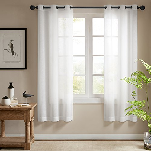 Solid Sheer Ultra Luxurious High Thread Faux Linen Voile Window Curtain Sets, Grommet Top, Modern Window Treatments, 2 Panels (Off White, 56' W*69' L)