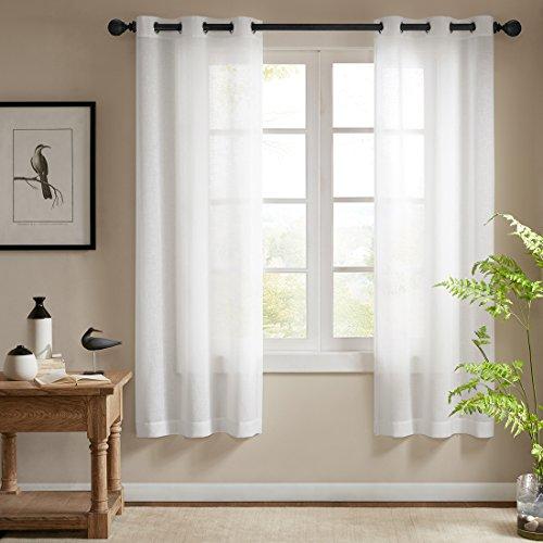 Ösenschal Voile Vorhang in Leinen-Optik Leinenstruktur Ösenvorhang Gardine mit Ösen Solid Sheer Wohnzimmer Elegant, Off White (2er-Set, je 175x140cm)