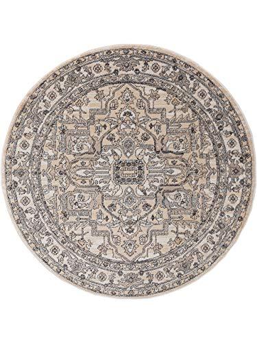 benuta CLASSIC Alfombra Redonda de Pelo Corto Sinan Cream, diámetro de 160 cm, Redonda, Moderna Alfombra para salón
