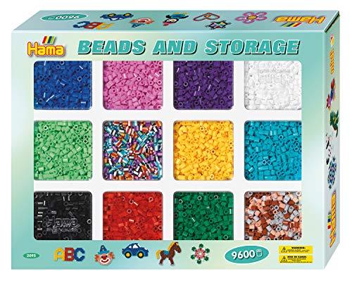 Hama Perlen 2095 Set Box und ca. 9.600 bunten Midi Bügelperlen mit Durchmesser 5 mm in 10 Farben und 2 Farbmischungen, inkl. Bügelpapier, kreativer Bastelspaß für Groß und Klein