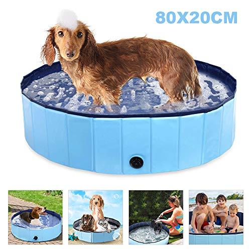 Powcan Hundepool Swimmingpool Für Hunde und Katzen Schwimmbecken Hund Planschbecken Hundebadewanne Faltbarer Pool mit PVC-rutschfest Verschleißfest Für Kinder Hund Katze Geschenk((80 * 20cm) (Blau)