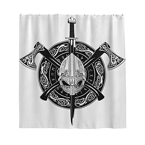 Firelife Wikinger Ritter Helm Duschvorhang Anti-Schimmel Wasserdicht Waschbar Polyester Axt Schwert Badewanne Gardinen mit Haken Weiß 180x200cm