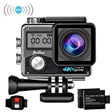 JinSun 4K WiFi Action Camera 16MP Sports Cam 30m Underwater Waterproof 170 Degree Wide Angle EIS Sony Sensor Sports Camera Camcorder, 2 Rechargeable Batteries and Mounting Accessories Kits