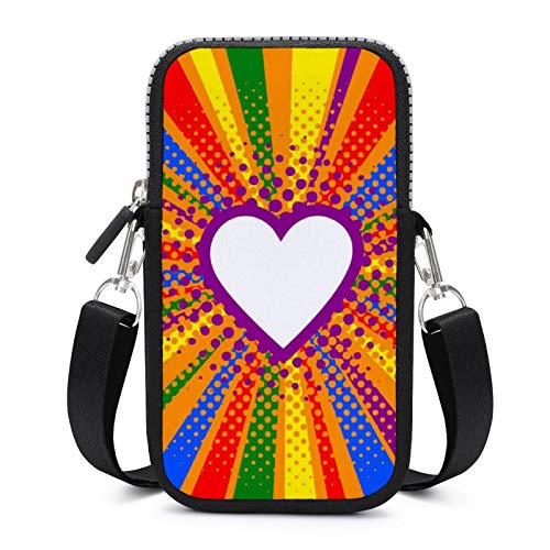 Cellphone Purse Crossbody with Removable Shoulder Strap Rainbow Hearts Anti-fall Pouch Case for Key Armband Wallet Running Bags Unisex