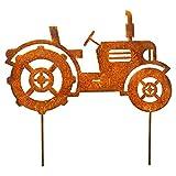 Manufaktur-Lichtbogen Edelrost Gartenstecker Traktor Rost Gartendeko aus Metall