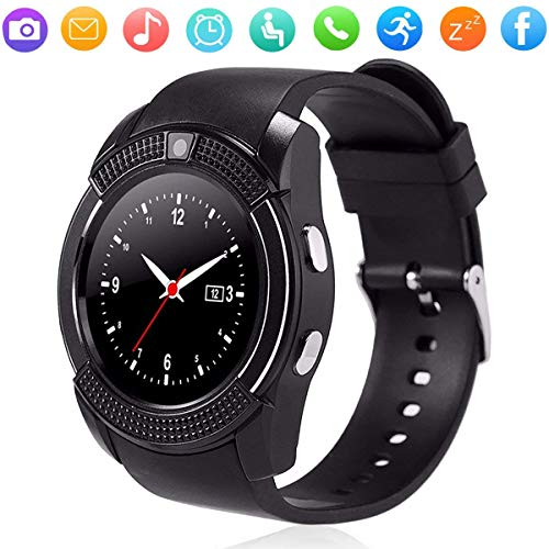 Smart Watch Bluetooth Smartwatch Touch Screen Wrist Watch Answer Call Fitness Tracker Cell Phone Watch with Camera Compatible Android Ios Samsung Galaxy S10 S9 Note 10 9 J6 J7 Lg G8 G7 Men Women Black