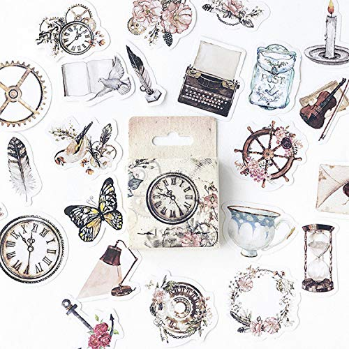 DESEACO Mini Vintage Stickers, Aesthetic Stickers for journaling, Scrapbook, Macbook, Notebook, Crafts, Diary, Album, Phone Cases, Envelop, Planners, Stationery and vintage room decor aesthetic (92 Pc