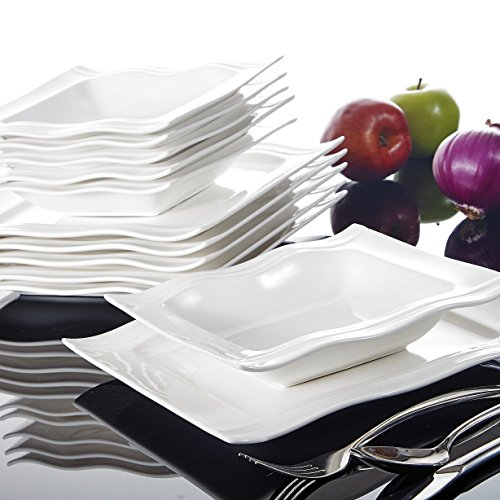 MALACASA, Serie Mario, Cremeweiß Porzellan Tafelservice 12 TLG. Set Geschirrset Kombiservice mit je 6 Speiseteller, 6 Suppenteller für 6 Personen