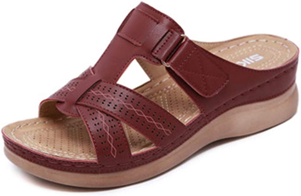 SHIBEVER Louisville-Jefferson County Mall Sandals for Women Comfort Wedge Sandal Max 46% OFF Slip on Vintage