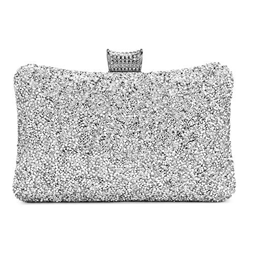 """Dimensions:7.8""""L x 2.3""""W x 4.7""""H,weight is 1 pounds,chains length:47"""" Feature:Rhinestone,Shinning;Closure Type:Hasp Capacity:great container for smart phone, lipsticks and pressed powder. Occasion:Perfect for wedding party, family reunion, prom, banq..."""