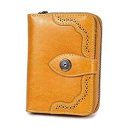 Portefeuille Femme RFID Mini Pliage en Cuir véritable Porte-Monnaie Pliant Porte Carte Grande Capacité Luxe Sac a Main…